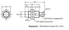Induktív érzékelő Omron E2A-M18KN16-M1-B2