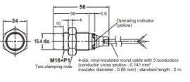Induktív érzékelő Omron E2B-M18KN16-WP-B2 2M
