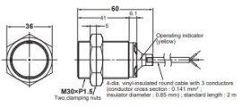 Induktív érzékelő Omron E2B-M30KS15-WP-B1 2M